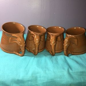 Other - Set of 4 Elephant Coffee Mugs Brown Trunk Handle